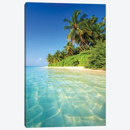 Tropical Beach In The Maldives Canvas Print #TEO269} by Matteo Colombo Canvas Wall Art