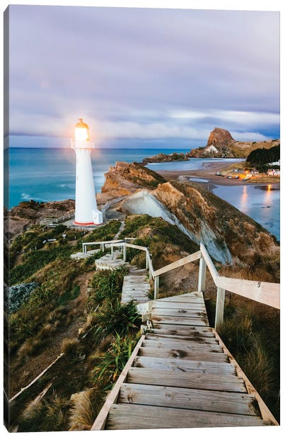Castle Point Lighthouse At Dawn, Castlepoint, Wellington, North Island, New Zealand Canvas Art Print