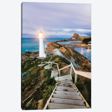 Castle Point Lighthouse At Dawn, Castlepoint, Wellington, North Island, New Zealand Canvas Print #TEO26} by Matteo Colombo Canvas Art Print
