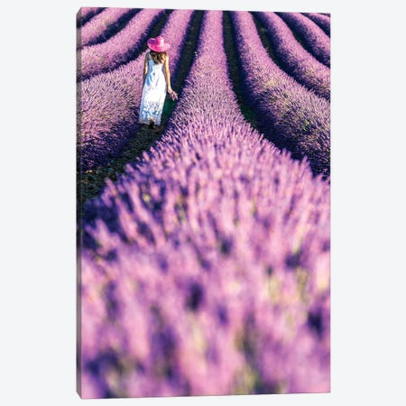 Woman In A Lavender Field, Provence Canvas Print #TEO276} by Matteo Colombo Canvas Artwork