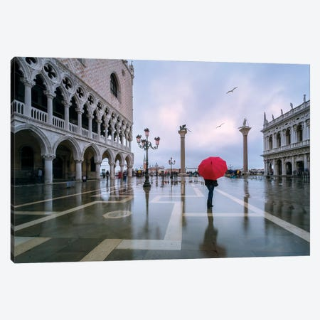Woman In Flooded St Mark's Square, Venice Canvas Print #TEO277} by Matteo Colombo Canvas Art