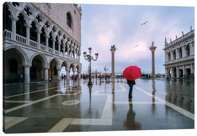 Woman In Flooded St Mark's Square, Venice Canvas Art Print