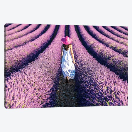 Woman Walking In The Lavender, Provence Canvas Print #TEO278} by Matteo Colombo Art Print