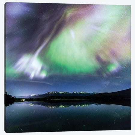 Aurora Borealis On The Canadian Rockies Canvas Print #TEO282} by Matteo Colombo Canvas Art