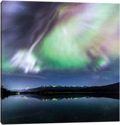 Aurora Borealis On The Canadian Rockies Canvas Art Print