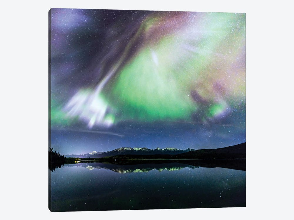 Aurora Borealis On The Canadian Rockies 1-piece Canvas Print