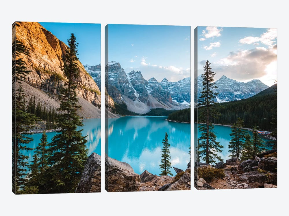 Autumnal Moraine Lake by Matteo Colombo 3-piece Canvas Wall Art