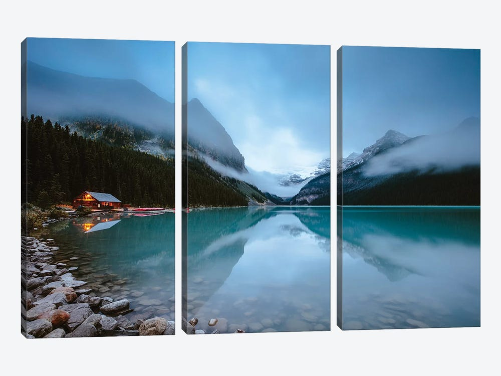 Dawn At Lake Louise by Matteo Colombo 3-piece Canvas Artwork