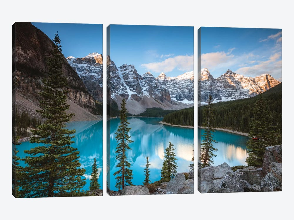 Iconic Moraine Lake by Matteo Colombo 3-piece Canvas Artwork