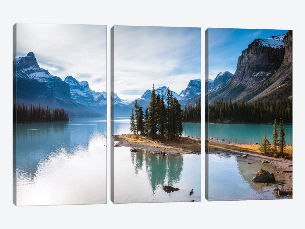 Iconic Spirit Island On Maligne Lake by Matteo Colombo 3-piece Canvas Print