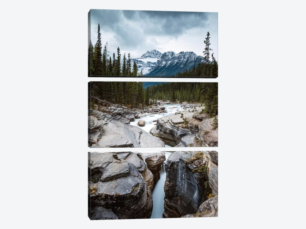 Mistaya Canyon In The Rockies by Matteo Colombo 3-piece Canvas Print
