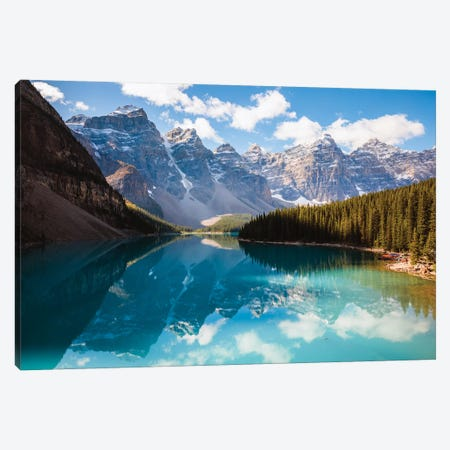 Moraine Lake And The Ten Peaks I Canvas Print #TEO295} by Matteo Colombo Canvas Artwork