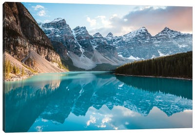 Moraine Lake Panoramic, Canada Canvas Art Print