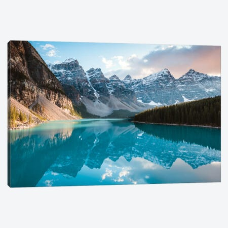Moraine Lake Panoramic, Canada Canvas Print #TEO296} by Matteo Colombo Canvas Wall Art