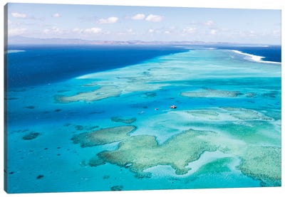 Aerial View Of Cloud 9 Floating Paradise, Malolo Barrier Reef, Republic Of Fiji Canvas Art Print