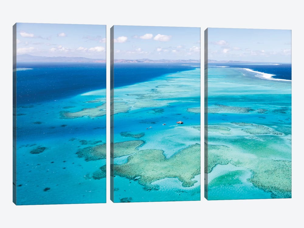 Aerial View Of Cloud 9 Floating Paradise, Malolo Barrier Reef, Republic Of Fiji by Matteo Colombo 3-piece Canvas Art