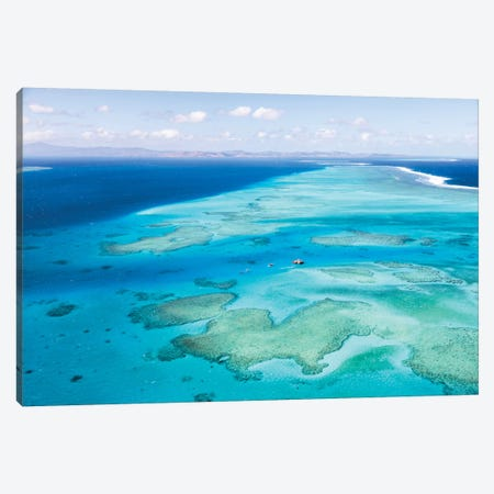 Aerial View Of Cloud 9 Floating Paradise, Malolo Barrier Reef, Republic Of Fiji Canvas Print #TEO2} by Matteo Colombo Art Print