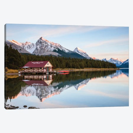 Sunset At Maligne Lake Canvas Print #TEO303} by Matteo Colombo Canvas Art Print
