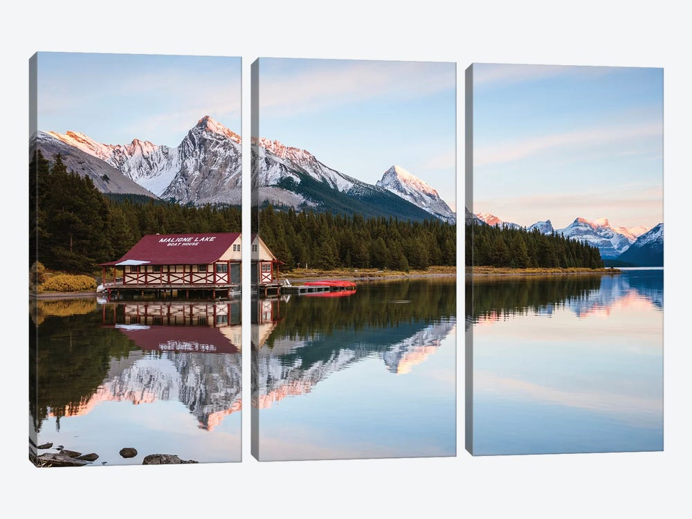 Sunset At Maligne Lake by Matteo Colombo 3-piece Canvas Art Print