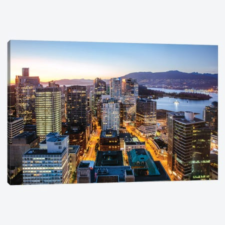 Vancouver Downtown At Dusk Canvas Print #TEO304} by Matteo Colombo Canvas Art