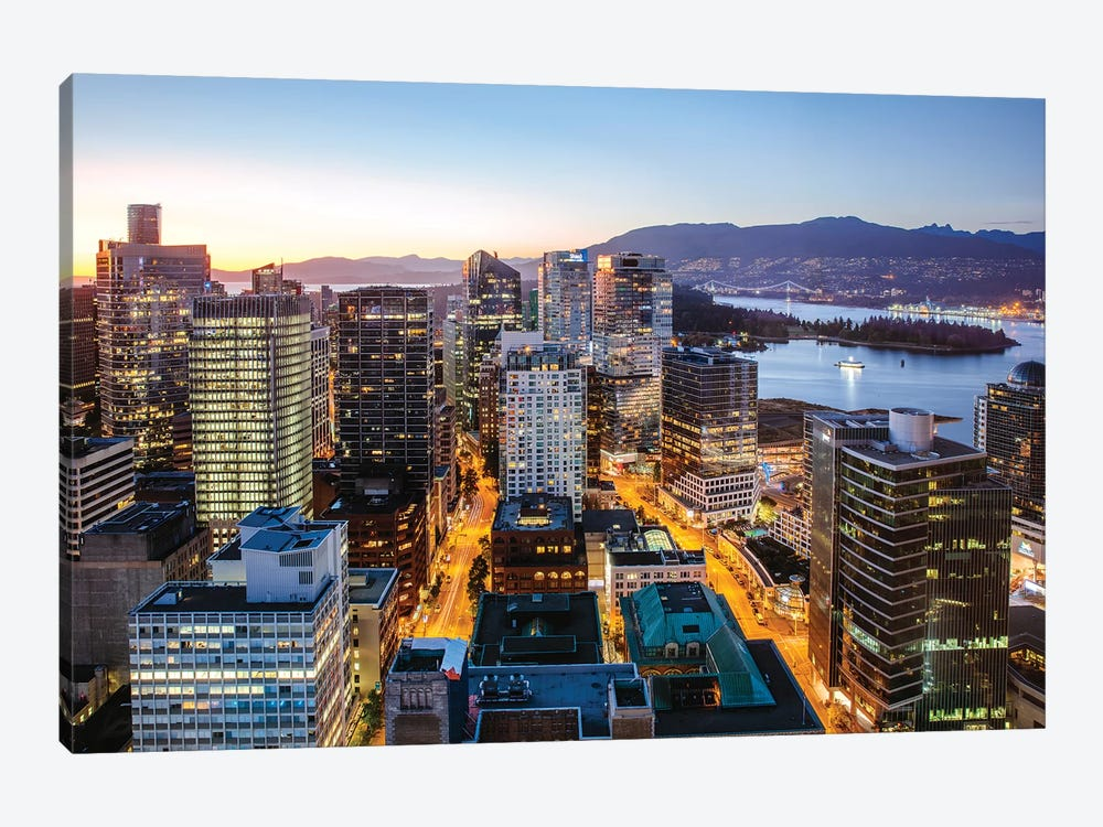Vancouver Downtown At Dusk 1-piece Canvas Wall Art