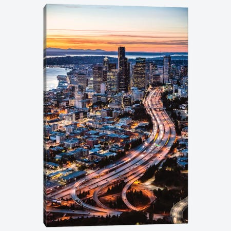 Aerial View Of Seattle At Dusk, USA Canvas Print #TEO307} by Matteo Colombo Canvas Artwork