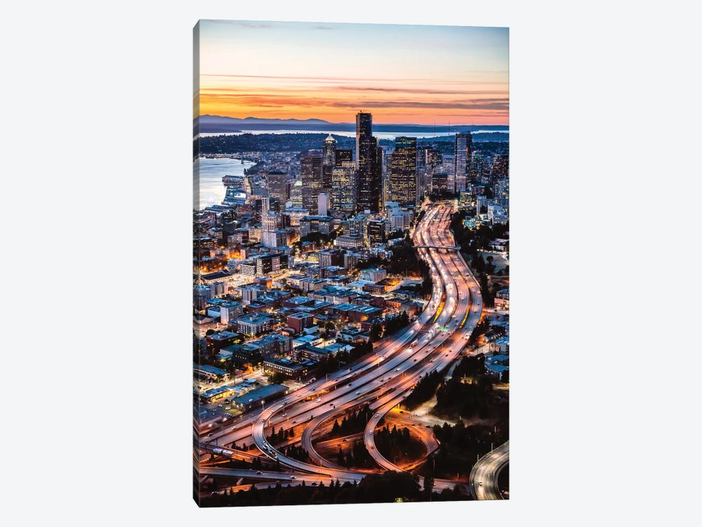 Aerial View Of Seattle At Dusk, USA by Matteo Colombo 1-piece Canvas Art Print
