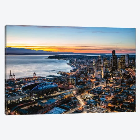 Aerial View Of Seattle Downtown Skyline At Dusk, USA Canvas Print #TEO308} by Matteo Colombo Canvas Art Print