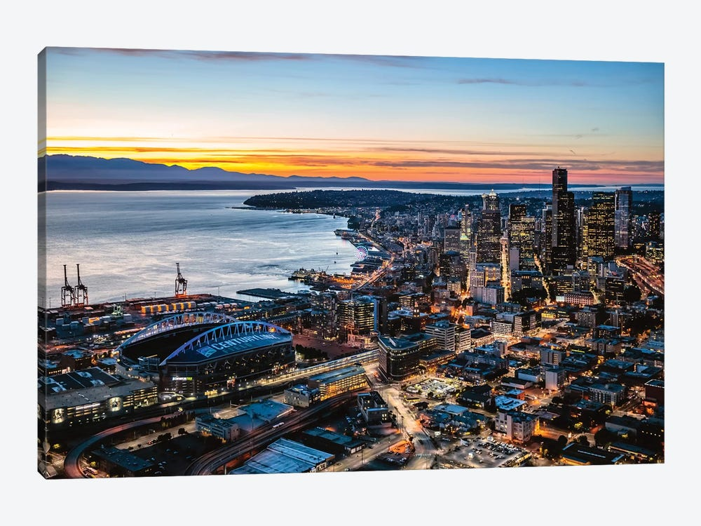 Aerial View Of Seattle Downtown Skyline At Dusk, USA by Matteo Colombo 1-piece Canvas Art