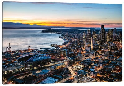 Aerial View Of Seattle Downtown Skyline At Dusk, USA Canvas Art Print