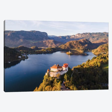 Bled Castle And Lake, Slovenia Canvas Print #TEO309} by Matteo Colombo Canvas Art Print
