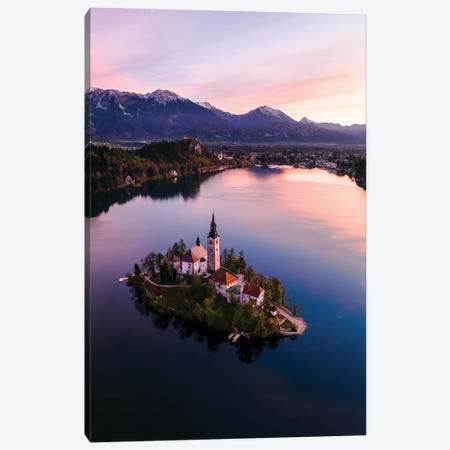Bled Island At Sunset II Canvas Print #TEO310} by Matteo Colombo Canvas Artwork