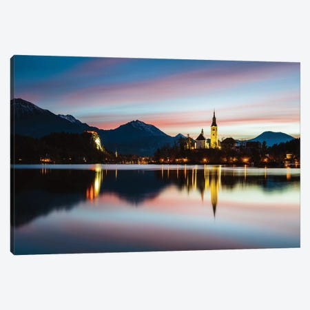 Bled Lake Sunrise, Slovenia Canvas Print #TEO311} by Matteo Colombo Canvas Artwork