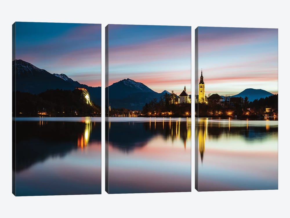 Bled Lake Sunrise, Slovenia by Matteo Colombo 3-piece Canvas Art