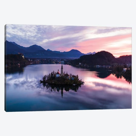 First Light On Bled Lake, Slovenia Canvas Print #TEO312} by Matteo Colombo Canvas Art