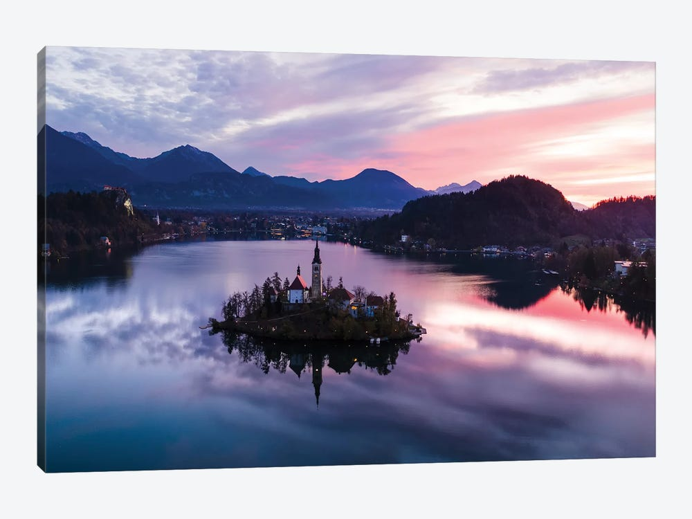 First Light On Bled Lake, Slovenia 1-piece Canvas Art Print