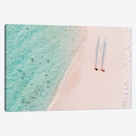 Hand In Hand On The Beach, Maldives Canvas Print #TEO313} by Matteo Colombo Canvas Artwork