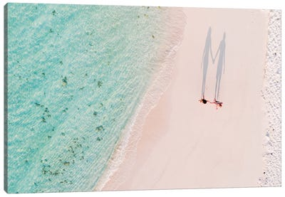 Hand In Hand On The Beach, Maldives Canvas Art Print