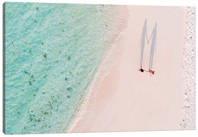 Hand In Hand On The Beach, Maldives Canvas Art Print