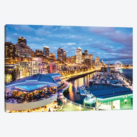 Harbor And City At Dusk, Seattle, USA Canvas Print #TEO314} by Matteo Colombo Canvas Print