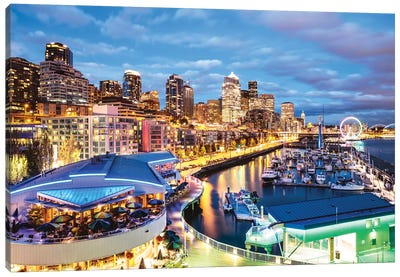 Harbor And City At Dusk, Seattle, USA Canvas Art Print