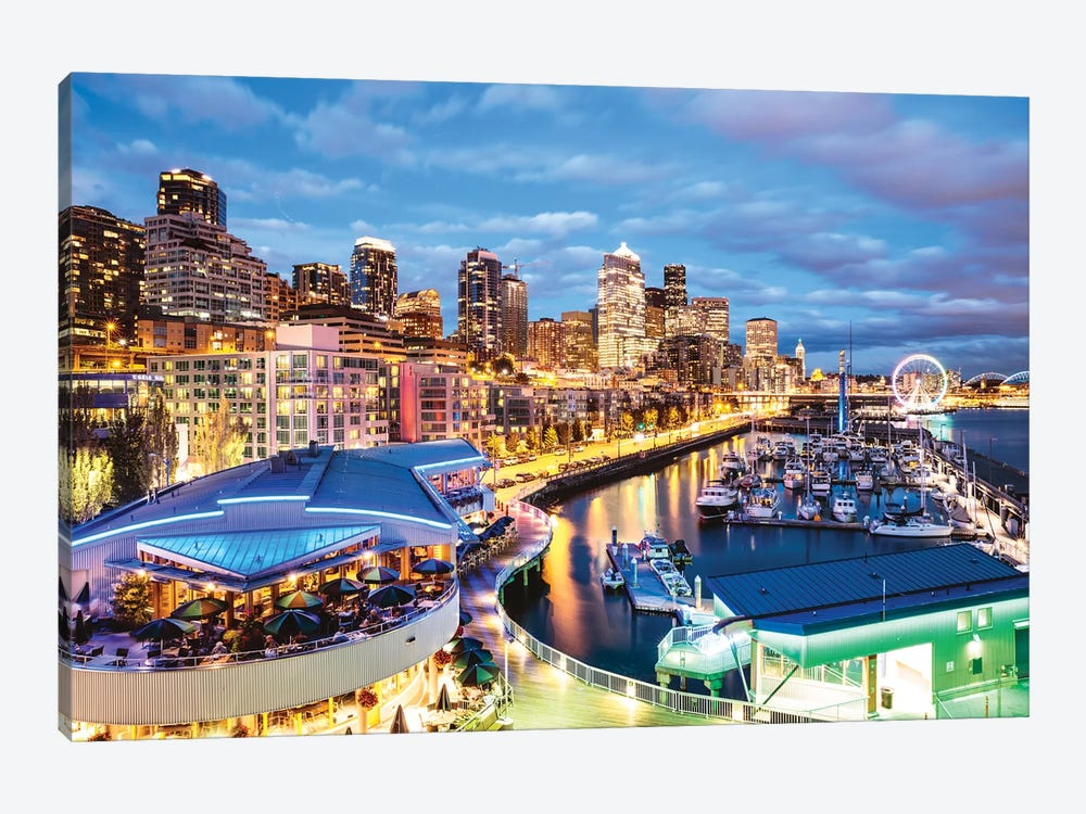 Harbor And City At Dusk, Seattle, USA by Matteo Colombo 1-piece Canvas Print