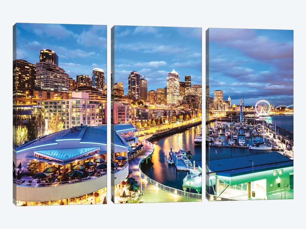 Harbor And City At Dusk, Seattle, USA by Matteo Colombo 3-piece Canvas Art Print
