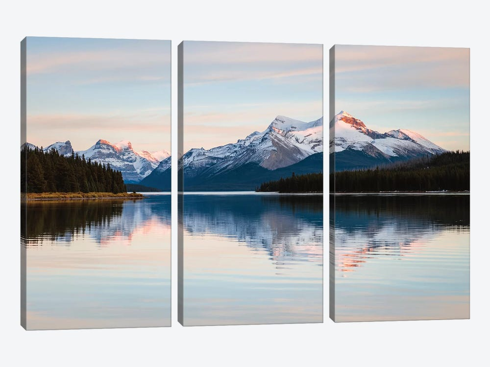 Maligne Lake Sunset, Jasper National Park, Canada 3-piece Canvas Art
