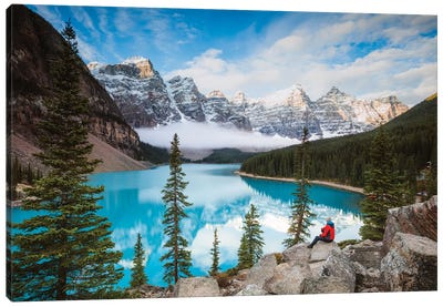 Man Sitting Near Moraine Lake, Banff National Park, Canada Canvas Art Print