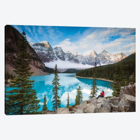 Man Sitting Near Moraine Lake, Banff National Park, Canada 3-Piece Canvas #TEO316} by Matteo Colombo Canvas Print