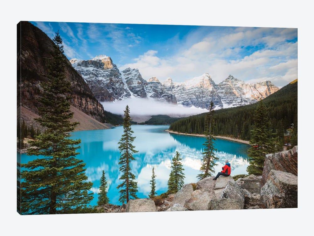 Man Sitting Near Moraine Lake, Banff National Park, Canada by Matteo Colombo 1-piece Art Print