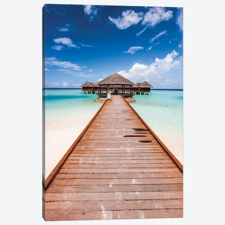 Pier In A Tropical Island, Maldives Canvas Print #TEO318} by Matteo Colombo Canvas Artwork