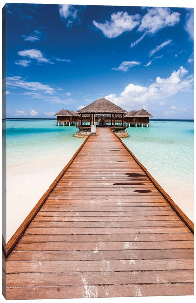 Pier In A Tropical Island, Maldives Canvas Art Print