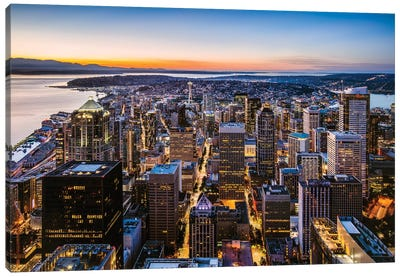 Skyline And Downtown At Dusk, Seattle, USA Canvas Art Print